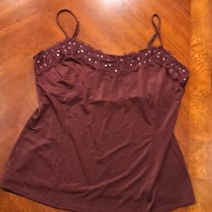 Rust colored cami with lace edge